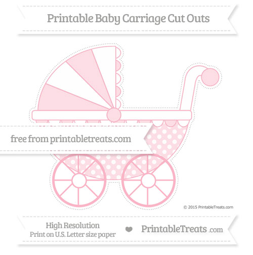 Free Pastel Light Pink Dotted Pattern Extra Large Baby Carriage Cut Outs