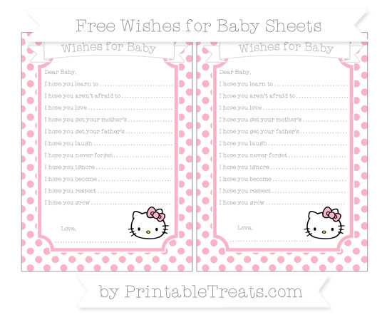 Free Pastel Light Pink Dotted Pattern Hello Kitty Wishes for Baby Sheets