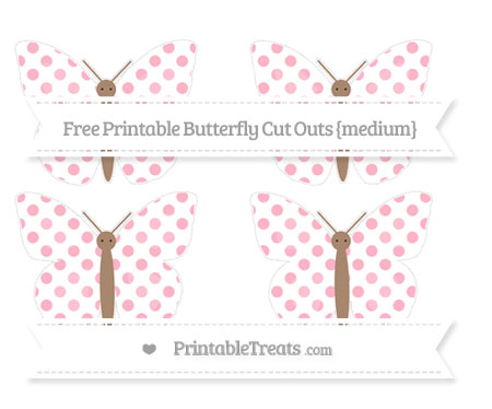 Free Pastel Light Pink Dotted Pattern Medium Butterfly Cut Outs