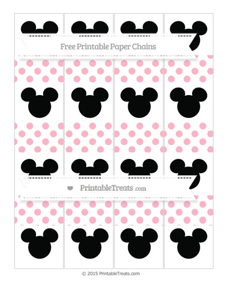Free Pastel Light Pink Dotted Pattern Mickey Mouse Paper Chains