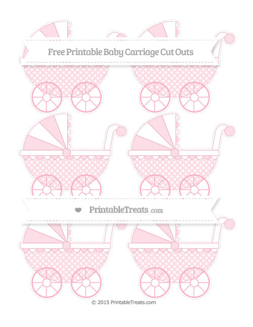 Free Pastel Light Pink Dotted Pattern Small Baby Carriage Cut Outs