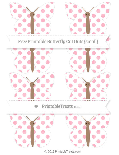 Free Pastel Light Pink Dotted Pattern Small Butterfly Cut Outs
