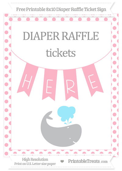 Free Pastel Light Pink Dotted Whale 8x10 Diaper Raffle Ticket Sign