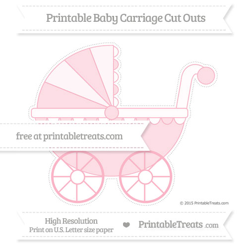 Free Pastel Light Pink Extra Large Baby Carriage Cut Outs