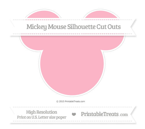 Free Pastel Light Pink Extra Large Mickey Mouse Silhouette Cut Outs