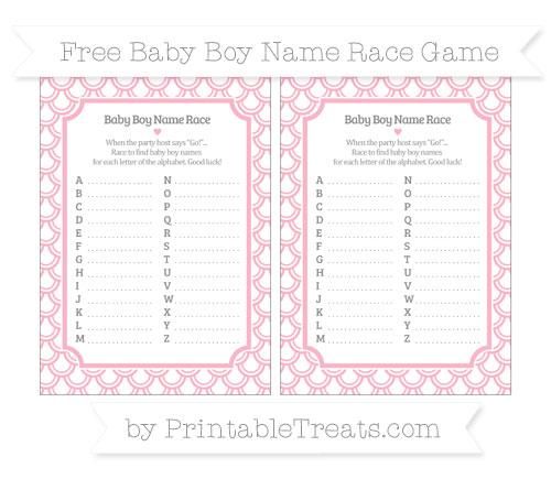 Free Pastel Light Pink Fish Scale Pattern Baby Boy Name Race Game