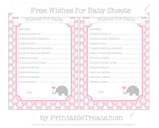 Free Pastel Light Pink Fish Scale Pattern Baby Elephant Wishes for Baby Sheets