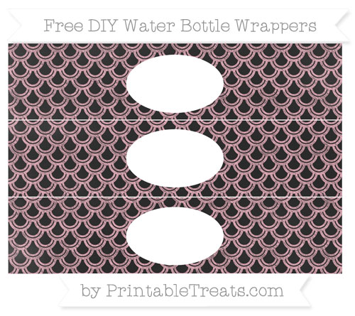 Free Pastel Light Pink Fish Scale Pattern Chalk Style DIY Water Bottle Wrappers