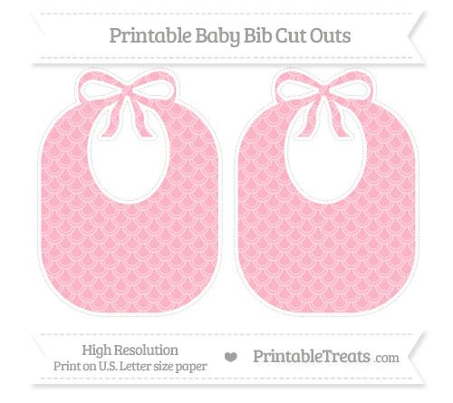 Free Pastel Light Pink Fish Scale Pattern Large Baby Bib Cut Outs