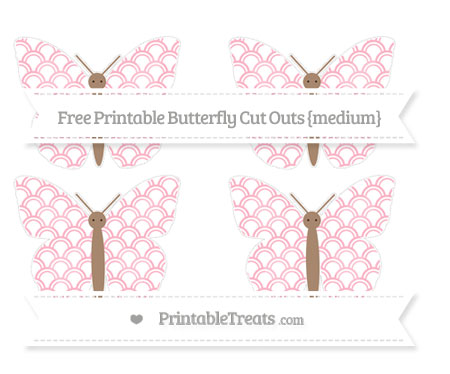 Free Pastel Light Pink Fish Scale Pattern Medium Butterfly Cut Outs