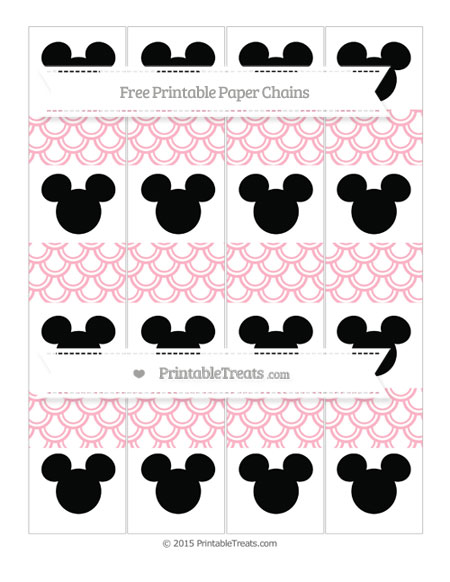 Free Pastel Light Pink Fish Scale Pattern Mickey Mouse Paper Chains