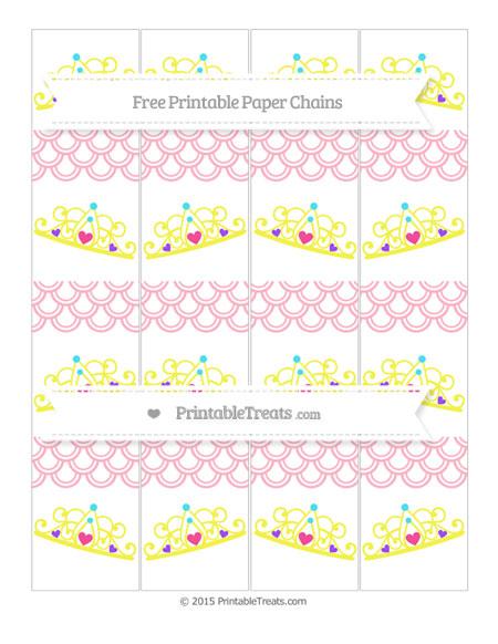 Free Pastel Light Pink Fish Scale Pattern Princess Tiara Paper Chains