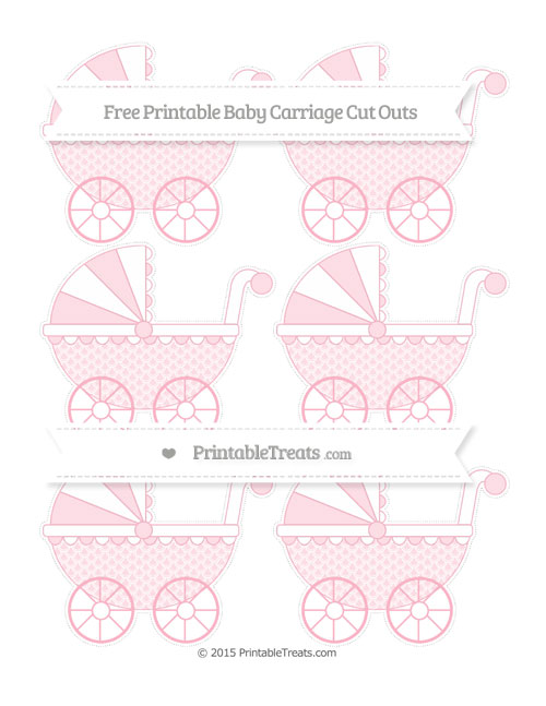Free Pastel Light Pink Fish Scale Pattern Small Baby Carriage Cut Outs