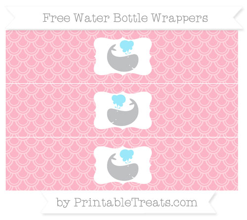 Free Pastel Light Pink Fish Scale Pattern Whale Water Bottle Wrappers