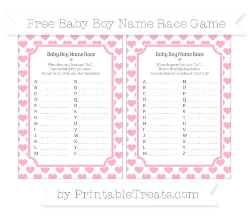 Free Pastel Light Pink Heart Pattern Baby Boy Name Race Game