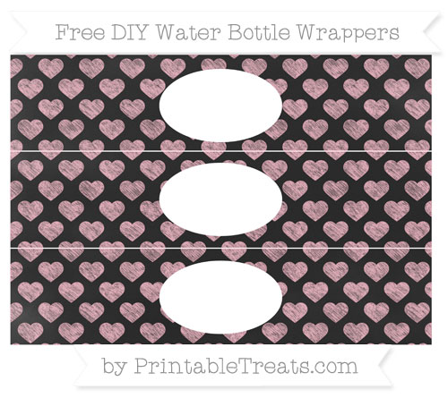 Free Pastel Light Pink Heart Pattern Chalk Style DIY Water Bottle Wrappers