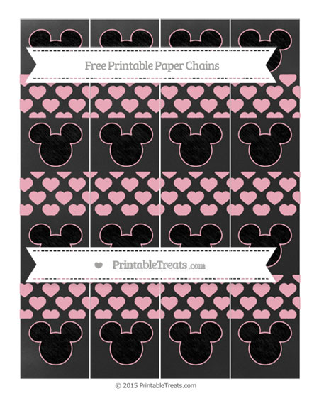 Free Pastel Light Pink Heart Pattern Chalk Style Mickey Mouse Paper Chains