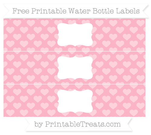 Free Pastel Light Pink Heart Pattern Water Bottle Labels