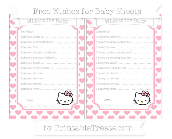 Free Pastel Light Pink Heart Pattern Hello Kitty Wishes for Baby Sheets