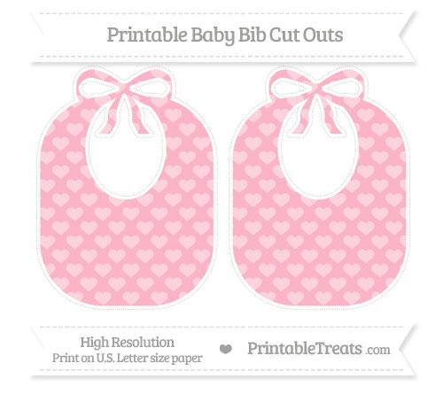 Free Pastel Light Pink Heart Pattern Large Baby Bib Cut Outs