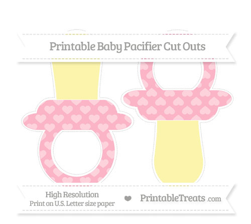 Free Pastel Light Pink Heart Pattern Large Baby Pacifier Cut Outs