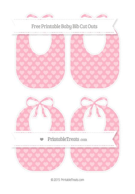 Free Pastel Light Pink Heart Pattern Medium Baby Bib Cut Outs