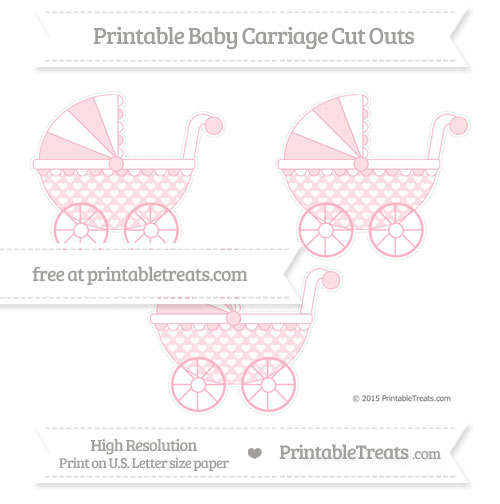 Free Pastel Light Pink Heart Pattern Medium Baby Carriage Cut Outs