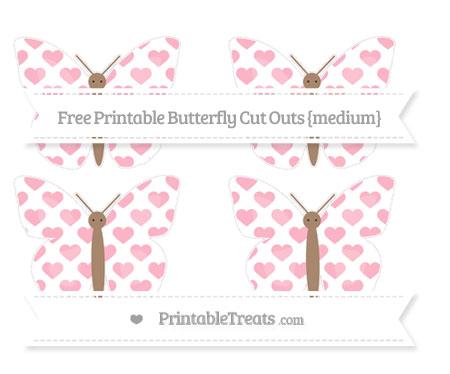 Free Pastel Light Pink Heart Pattern Medium Butterfly Cut Outs