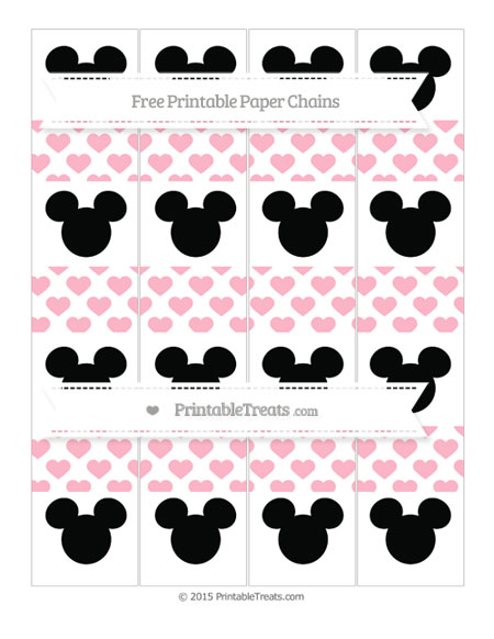 Free Pastel Light Pink Heart Pattern Mickey Mouse Paper Chains