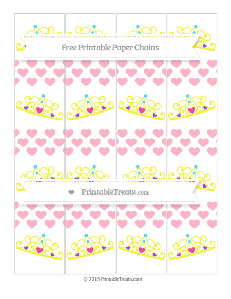 Free Pastel Light Pink Heart Pattern Princess Tiara Paper Chains