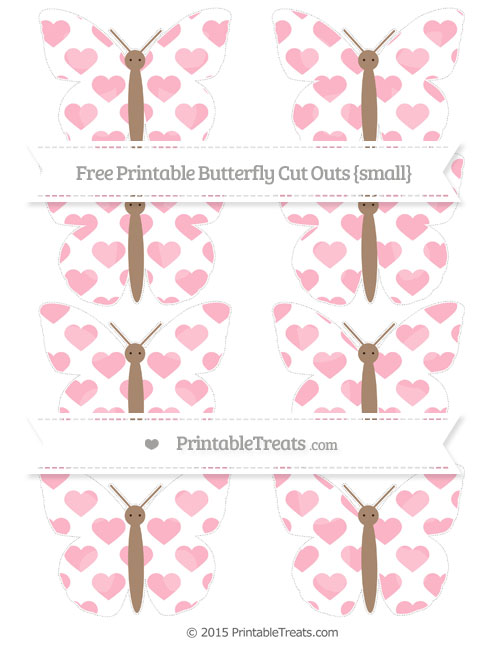 Free Pastel Light Pink Heart Pattern Small Butterfly Cut Outs