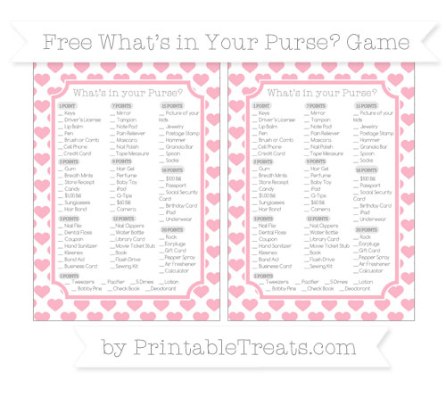 Free Pastel Light Pink Heart Pattern What's in Your Purse Baby Shower Game