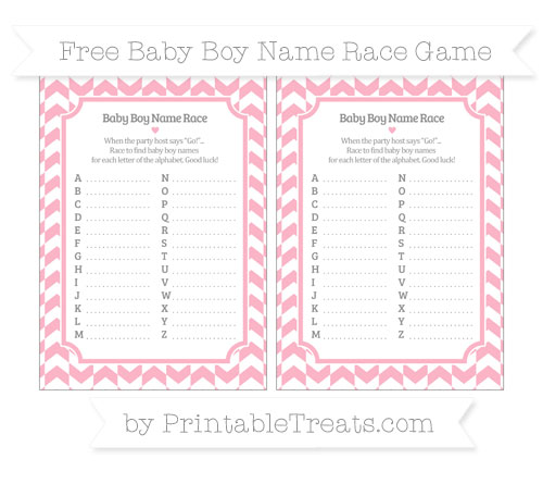 Free Pastel Light Pink Herringbone Pattern Baby Boy Name Race Game