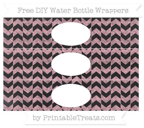Free Pastel Light Pink Herringbone Pattern Chalk Style DIY Water Bottle Wrappers