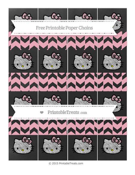 Free Pastel Light Pink Herringbone Pattern Chalk Style Hello Kitty Paper Chains