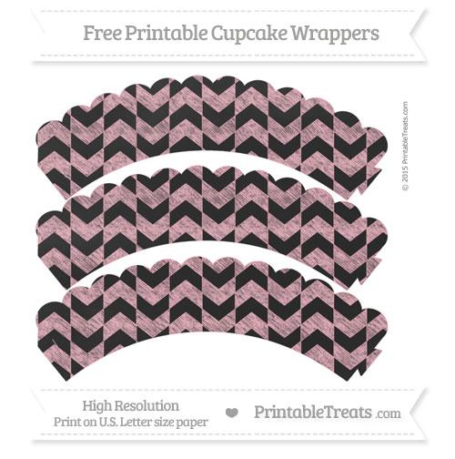 Free Pastel Light Pink Herringbone Pattern Chalk Style Scalloped Cupcake Wrappers