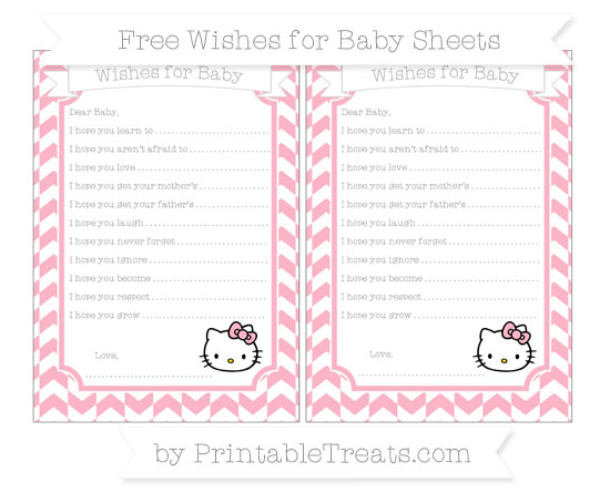 Free Pastel Light Pink Herringbone Pattern Hello Kitty Wishes for Baby Sheets