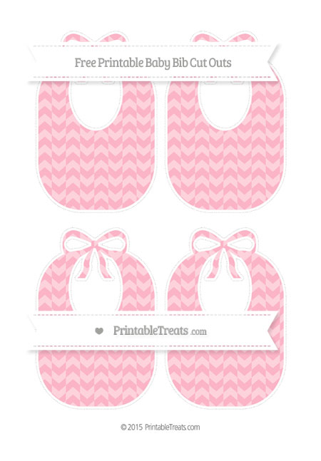 Free Pastel Light Pink Herringbone Pattern Medium Baby Bib Cut Outs
