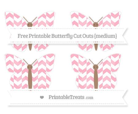 Free Pastel Light Pink Herringbone Pattern Medium Butterfly Cut Outs