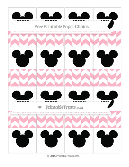 Free Pastel Light Pink Herringbone Pattern Mickey Mouse Paper Chains