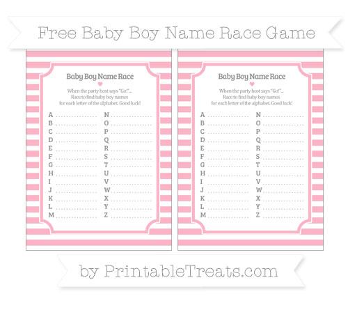 Free Pastel Light Pink Horizontal Striped Baby Boy Name Race Game
