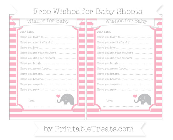 Free Pastel Light Pink Horizontal Striped Baby Elephant Wishes for Baby Sheets