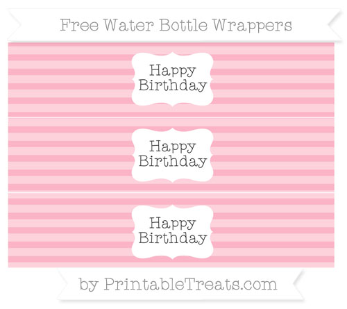 Free Pastel Light Pink Horizontal Striped Happy Birhtday Water Bottle Wrappers