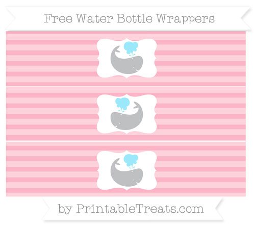 Free Pastel Light Pink Horizontal Striped Whale Water Bottle Wrappers