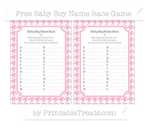 Free Pastel Light Pink Houndstooth Pattern Baby Boy Name Race Game