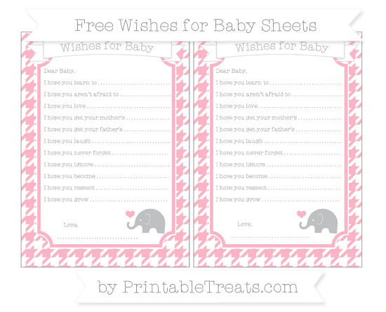 Free Pastel Light Pink Houndstooth Pattern Baby Elephant Wishes for Baby Sheets
