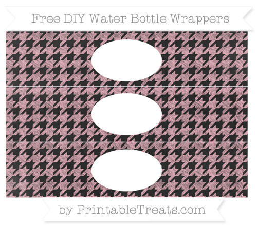 Free Pastel Light Pink Houndstooth Pattern Chalk Style DIY Water Bottle Wrappers