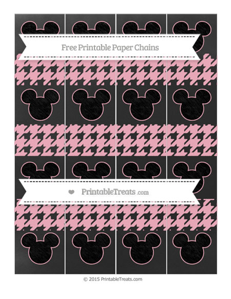 Free Pastel Light Pink Houndstooth Pattern Chalk Style Mickey Mouse Paper Chains
