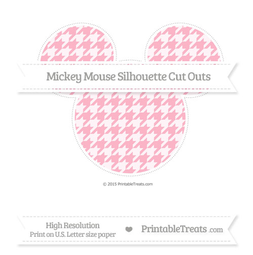Free Pastel Light Pink Houndstooth Pattern Extra Large Mickey Mouse Silhouette Cut Outs