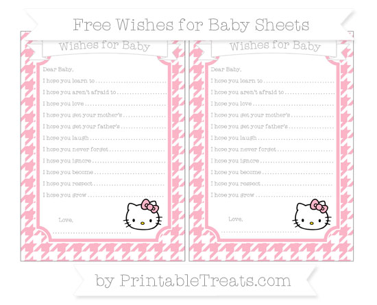 Free Pastel Light Pink Houndstooth Pattern Hello Kitty Wishes for Baby Sheets